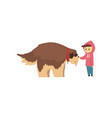 little boy walking with big brown dog cute pet vector image vector image