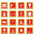 magic icons set red vector image vector image