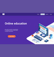 online education 3d lp template vector image vector image