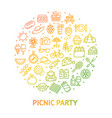 picnic party banner round design template thin vector image vector image