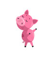 pink funny skeptical cartoon baby piglet cute vector image