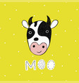 poster with hand drawn funny cow vector image vector image