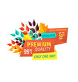 premium quality discount emblem with fall leaves vector image