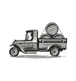 retro farm truck with barrels wine or other vector image