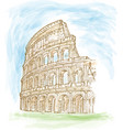 roman colosseum watercolor hand draw vector image vector image