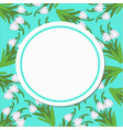round card pattern from snowdrops on a turquoise vector image vector image