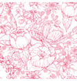seamless monochrome pattern with hand drawn peony vector image vector image