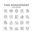 set line icons time management vector image vector image