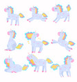 set of cute unicorns playing running with a vector image vector image