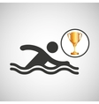 silhouette man swimmer athlete trophy vector image vector image