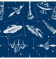 Space aircraft seamless pattern vector image