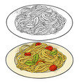 spaghetti on plate vintage color engraving vector image vector image