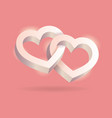 two hearts connected on pink background vector image vector image