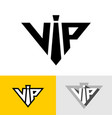 vip service logo abbreviation neck tie as letter vector image vector image