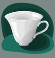 white flat cup on green background vector image