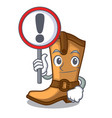with sign cowboy boots in the shape cartoon vector image
