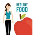 woman and fresh fruit apple health food vector image