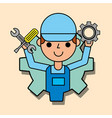 worker holding gear and wrench car service vector image
