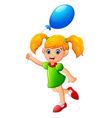 little girl holding balloon vector image