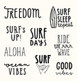 set of surfing quotes hand drawn lettering vector image