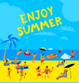 summer beach people set tropical background with vector image