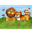 A lion tiger and butterflies in the garden vector image vector image