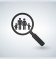 a magnifier glass with a family icon vector image