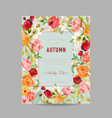 autumn photo frame with orchid and lily flowers vector image vector image