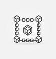 block chain line icon blockchain vector image vector image