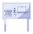 blue shading silhouette of desk home office basic vector image vector image