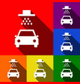car wash sign set of icons with flat vector image