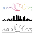 Charlotte skyline linear style with rainbow vector image vector image