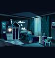 child sleeping in bed in bedroom cartoon vector image