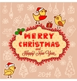 christmas hand drawn card vector image vector image