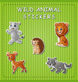 cute cartoon wild animals on sticker vector image