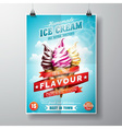 delicious Ice Cream Flyer Design on sky background vector image