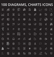 diagrams charts editable line icons set on vector image vector image
