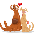 dogs in love cartoon vector image vector image
