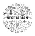 fruits and vegetables vegetarian set isolated vector image vector image