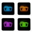 glowing neon folder upload icon isolated on white vector image vector image