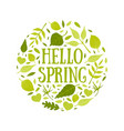 hello spring banner template with green leaves of vector image vector image