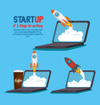 laptop with start up business icons vector image