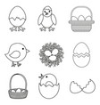 line art black and white chicken eggs set vector image vector image
