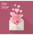 Love letter with card and hearts vector image vector image