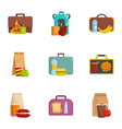 luggage icons set cartoon style vector image