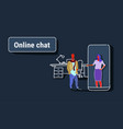 man chatting with elegant woman in smartphone vector image vector image