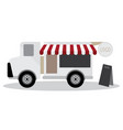 model of food truck and have blackboard for vector image