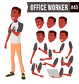 office worker face emotions african vector image