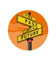 past 2018 and future 2019 signpost retro vector image