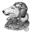 polar bear dressed up in pilot or airman flyboy vector image vector image